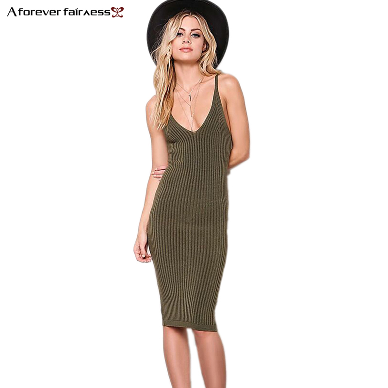 A Forver Summer 2018 Plunging V neck Sexy Spaghetti Strap Dress Army Slim Casual Knitted Dress vestidos Party Dresses AFF1048