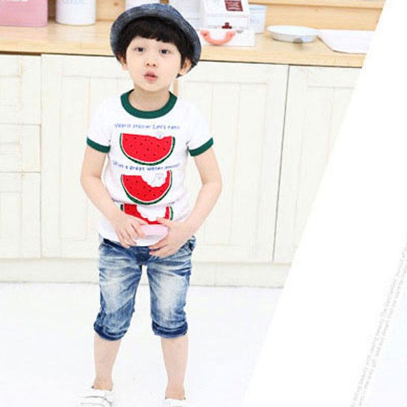 Симпатичная и удобная летняя детская футболка с арбузом для малышей детская футболка для мальчиков с коротким рукавом