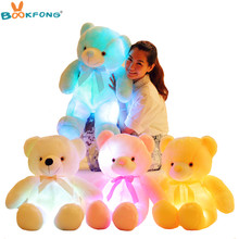 Bookfong 50 CM Kreatif Light Up LED Teddy Bear Boneka Plush Toy Colorful Bercahaya Teddy Bear Hadiah Natal untuk anak-anak(China)