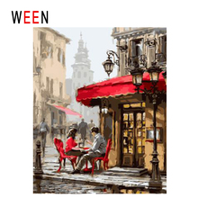 WEEN Street Shop Diy Painting By Numbers Abstract Couple Oil On Canvas Paris Walk Cuadros Decoracion Acrylic Wall Decor