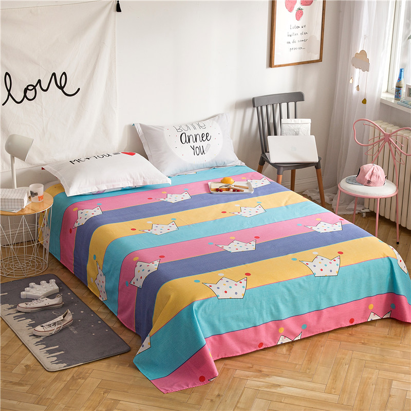 Fashion Color Stripe+Crown Pattern 3Pcs Flat Sheet Set 100% Cotton Soft Bedding Bedsheet+2pillowcases Sheets Set Comfortable Set