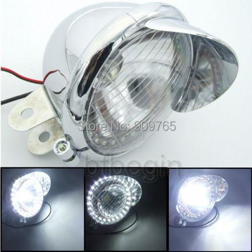 "Led Spotlight Headlamp: 1 Pcs 5"" Universal Motorcycle White LED Angel Eye"