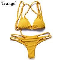 Trangel Bikinis Women 2017 Sexy Swimwear Brazilian Bikini Halter Push Up Swimwear Bikini Cut Out Bottom