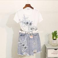 Summer Denim Skirt Suit Women 2019 Summer Bead Embroidered Flower T shirt Worn Out Jeans Package Hip Skirt Female Two piece Set