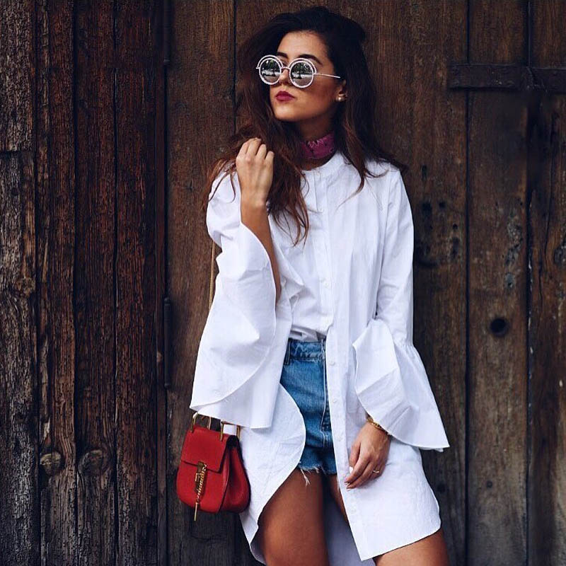MOARCHO 2017 Women White Flare Sleeve Shirt Dress Summer Fashion O Neck Straight Elegant Woman Bloues Casual Clothing Tops 2