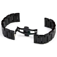 Stainless Steel Watch Bracelet Watchband With Butterfly Folded Buckle Deployment Stainless Steel