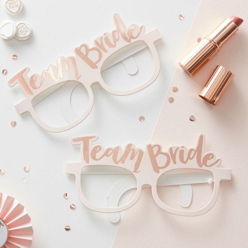 5PCS/bag Team Bride Glasses Bride to be Wedding Paper Glasses Gold Hen Night Party Accessories Novelties Favours Hawaiian