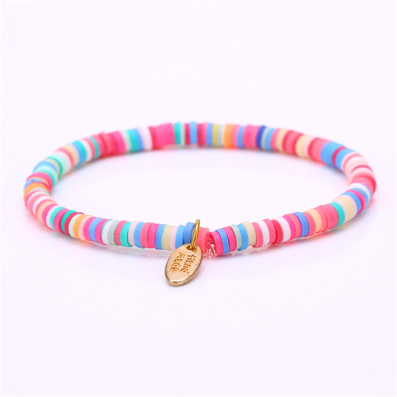 New Handmade Boho Bracelet Femme Candy Color Polymer Clay Elastic Charm Bracelet For Women Jewelry Wristband pulseras mujer girl