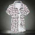 2015 hot sale max tamanho 7XL camisa o mais recente de alta qualidade de algodão mercerizado elástico flor moda camisa de manga curta