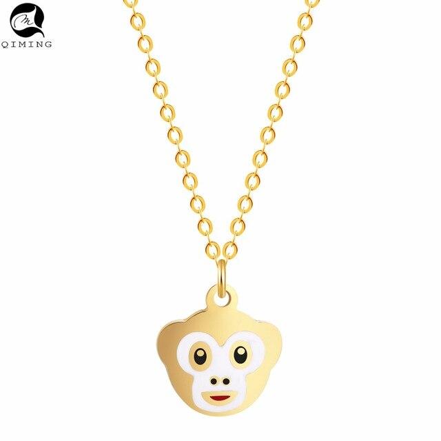 Emoji פדנט גלגל המזלות שרשרת נשים מתנת אופנה יפה ילדים תינוק תכשיטי חמוד בעלי החיים קוף תליון שרשרת שרשרת קולייר
