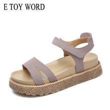 E TOY WORD Women Sandals Suede Leather Casual Beach Summer shoes Waterproof platform Black Gray sandals Female