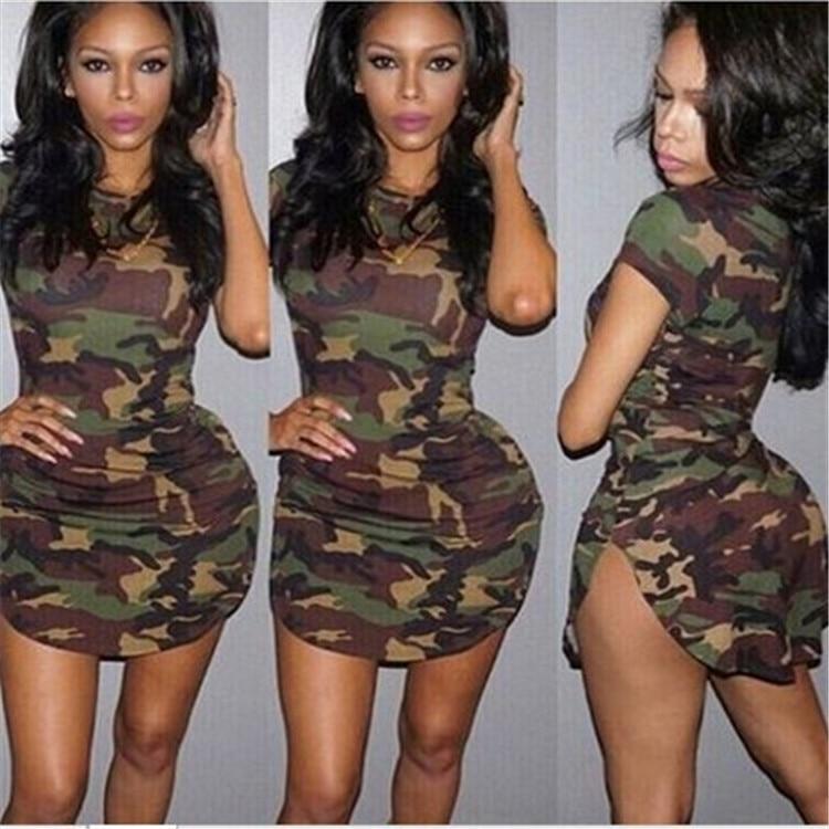 Women Dress Casual Cotton Short Sexy Club Dress Camouflage Mini Dress Bodycon Sheath Dress