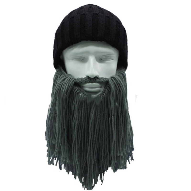 3a36f9d1973 Funny handmade Women men wool mustache knitted hats pirate face mask wig beard  beanies Viking horn bonnet caps Button Connected-in Skullies   Beanies from  ...