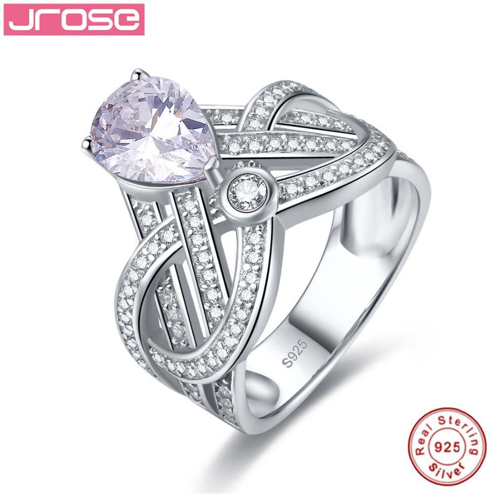 Jrose couronne poire blanc cubique zircone anniversaire promesse bague de fiançailles pour les femmes réel 925 bijoux de mariage en argent Sterling
