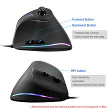 Lefon Vertical Gaming Mouse Wired RGB Ergonomic USB Joystick Programmable Laser Gaming Mice 10000 DPI 2019 Upgraded for Gamer