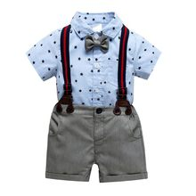 Summer Children\'s Clothes Kids Baby Boys Star Print Tops + Straps Shorts +Straps + Bow Tie Kids Gentleman Clothes suit Sets(China)