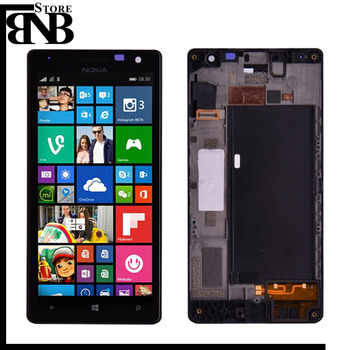 100% Origineel Voor Nokia lumia 730 735 Lcd Touch Screen Digitizer Vergadering met Frame of lumia 730 lcd zonder frame