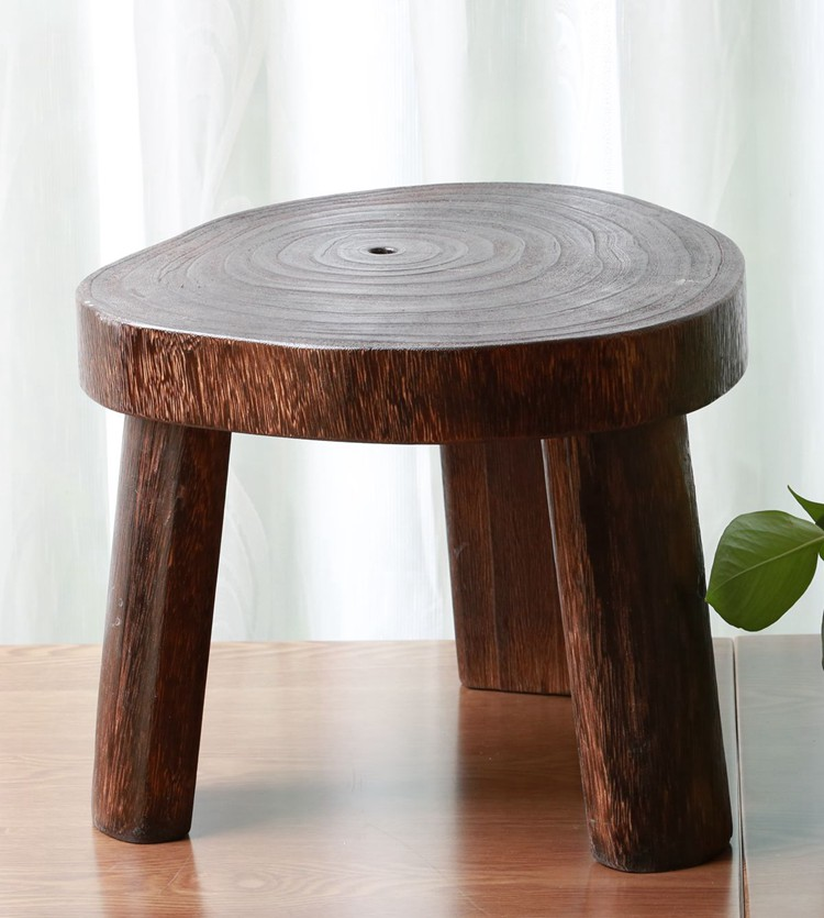 Japanese Antique Wooden Round Stool Paulownia Wood Small Asian Traditional Furniture Living Room Portable Low Stand Stool Design