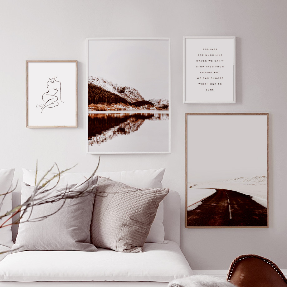 Lake Mountain Road Line Drawing Girl Wall Art Canvas Painting Abstract Nordic Posters And Prints Pictures For Living Room