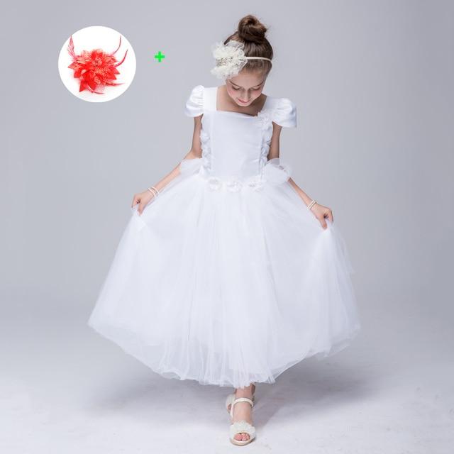 Girls Party Elegant Peach White Tea Length Kid Prom Dresses Children ...