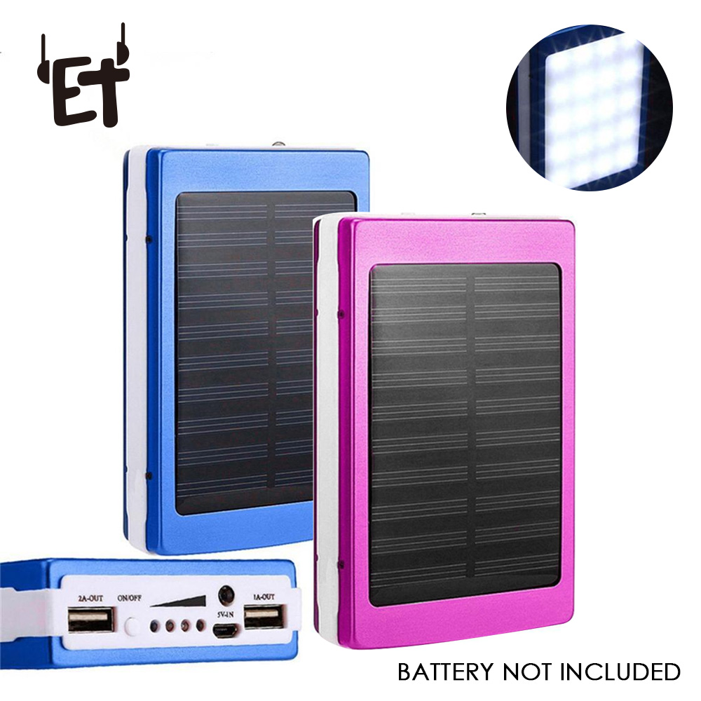 ET Phone-Charger Powerbank-Case Solar Samsung Portable 18650 Battery-Not-Included USB