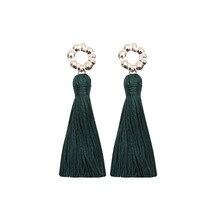 Bohemian Vintage Style Zircon Earrings Female Fashion Europe And America Long Green Tassel For Women Jewelry Wholesale
