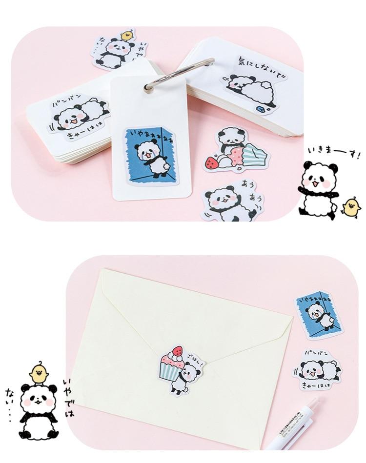 blushing panda sticker on paper