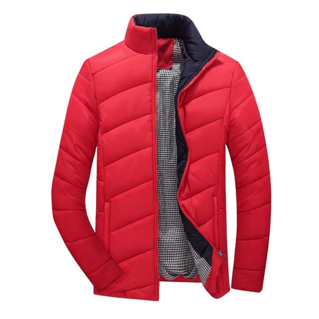 Inverno Quente 2017 Homens Grossa Jaqueta de Gola Cor Sólida moda Casual Slim Fit Men Outwear Jaquetas Parka Casaco Plus Size tamanho