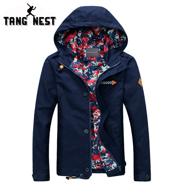 TANGNEST 2017 Man's Jacket Youth Fashion Handsome Slim Men Jacket Hooded Thin Fit Men Coat Five Colors Size L-XXXL For Male 806