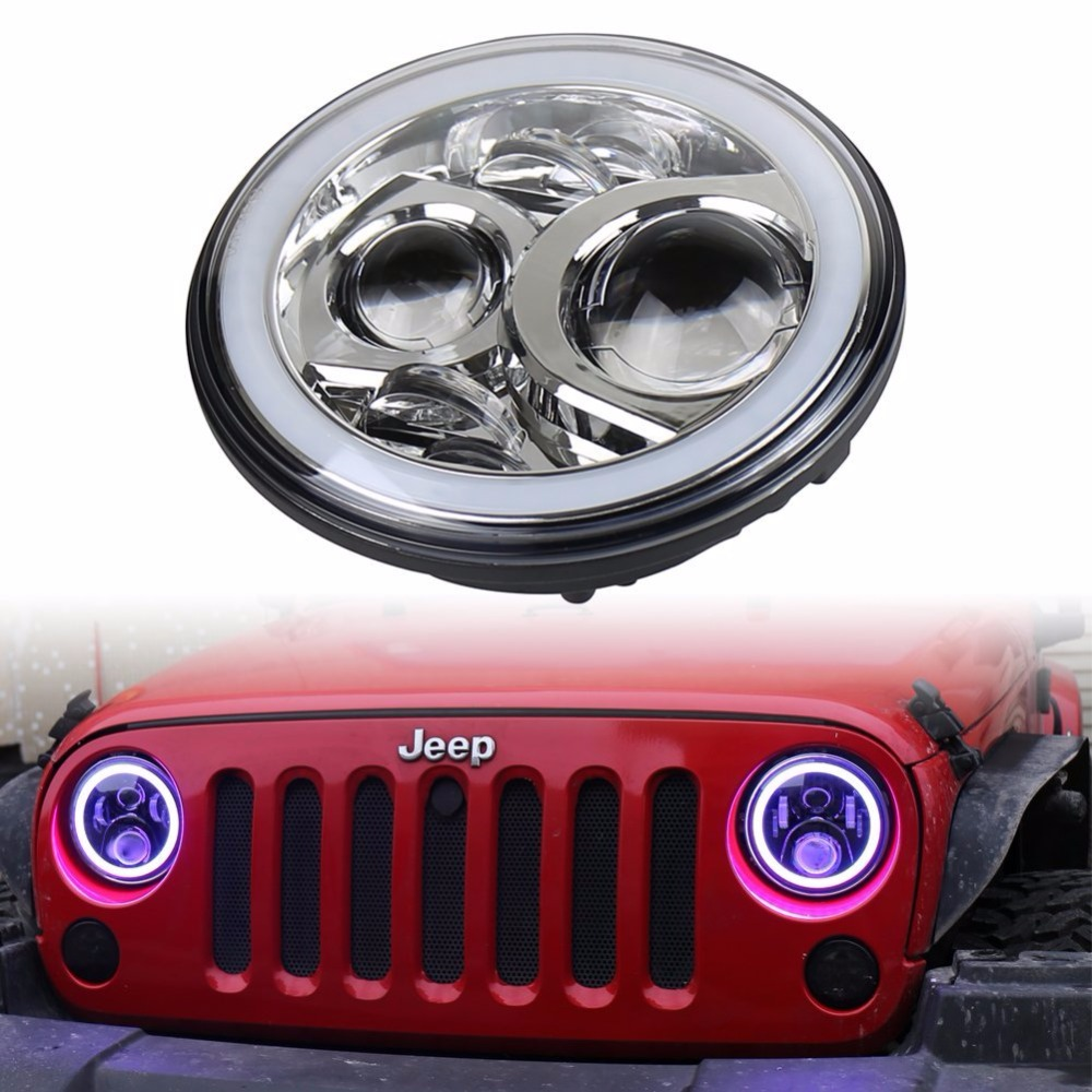 Free Shipping 7'' LED RGB Headlight for 07-16 Jeep Wrangler Unlimited JK 4 Door/2 Door led headlamp Hi/Lo beam Halo Angel eyes 7 inch 60w led headlight drl white turn singal hi lo beam headlamp bulb fit jeep wrangler jk tj sahara unlimited hummer h1 h2