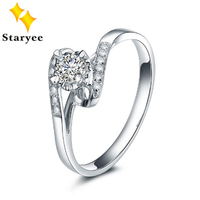 New Real 18K Karat White Gold 0.1carat Diamond Rings Certified 0.3CT Charles Colvard Moissanite Engagement Jewelry For Women