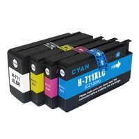 4 peças compatíveis para hp711 711 para hp 711xl cartucho de tinta para hp desigjet t120 t520 t120 24/t120 610/t520 24/t520