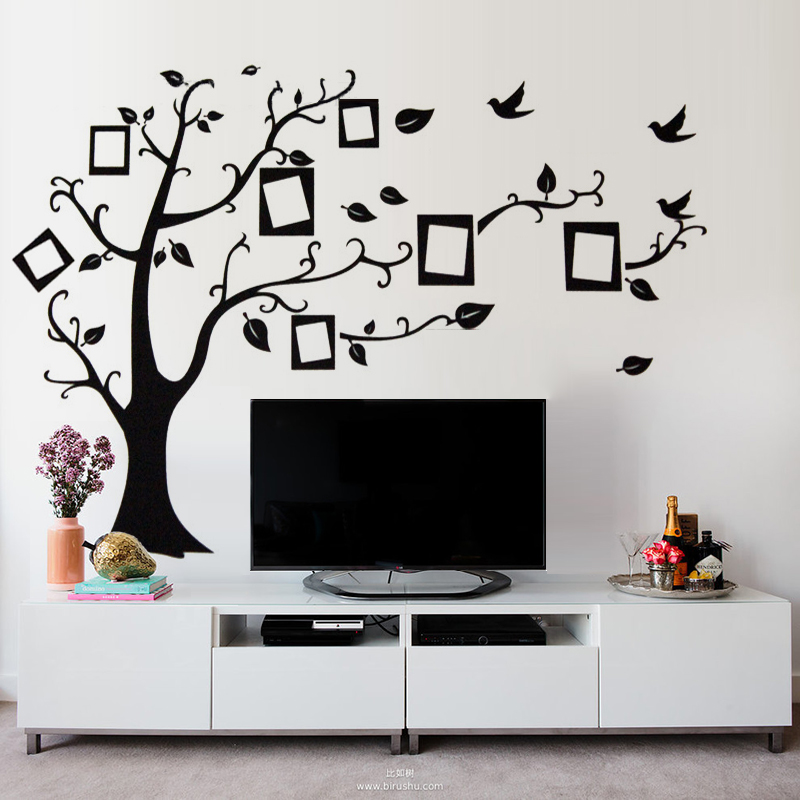Buy photo frames tree wall decals for tv for Diy tree wall mural