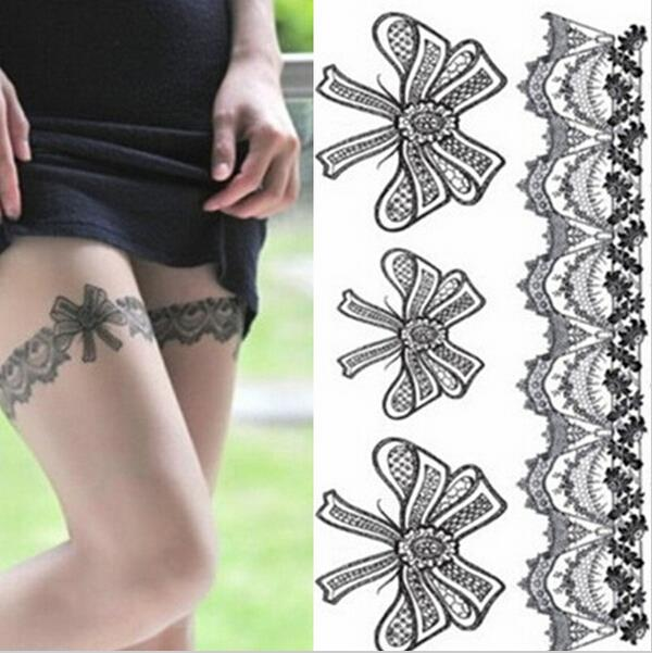Hot Sales 1 Set/Lot Fake Tattoo Temporary Tattoo Leg Portion Sexy Stockings Lace Tattoo Stickers Black girl