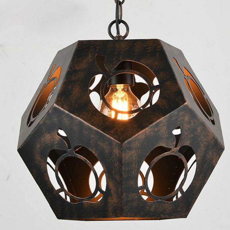 loft retro iron diamond polyhedron pendant light American style country cafe restaurant bar hanging lighting E27