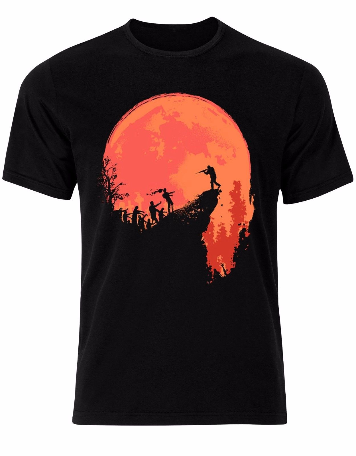 Zombie Killer Orange Moonlight Halloween Post Apocalyptic Men Tshirt Top AL61 Customize Tee Shirts
