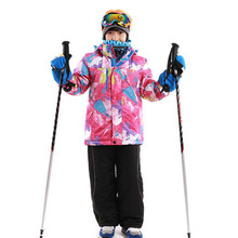 110-164 cm jackets+pant Russian -20 to -30 ladies kids snow go well with out of doors put on child's units watproof winter ski set for boy