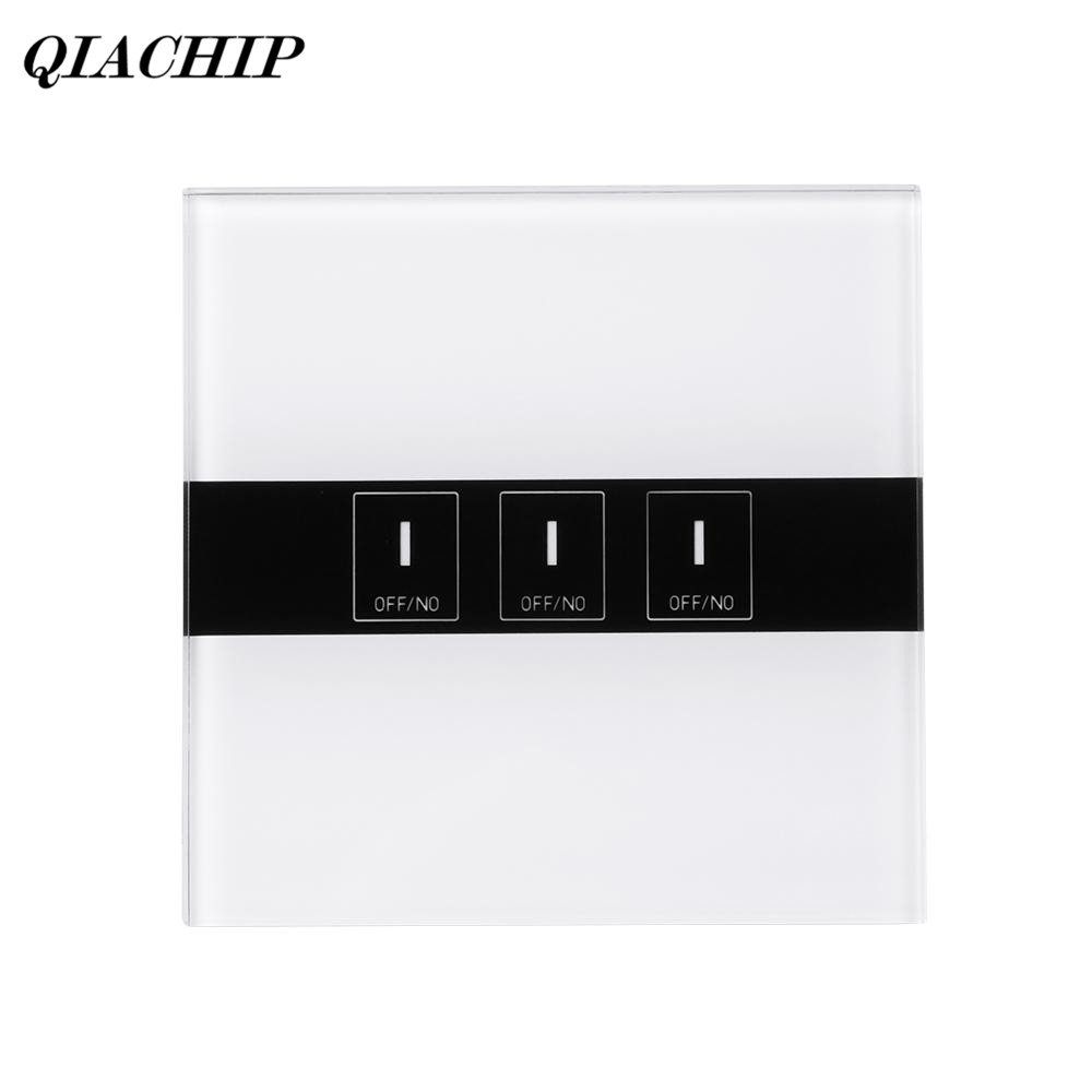 QIACHIP EU Plug 3 Gang AC 90-250V Tempered Glass WIFI Remote Control Work With Amazon Alexa Smart Home Touch Sensor Panel Switch qiachip eu plug wifi smart led light wall switch touch luxury glass panel wifi timer switch remote control work with alexa h2