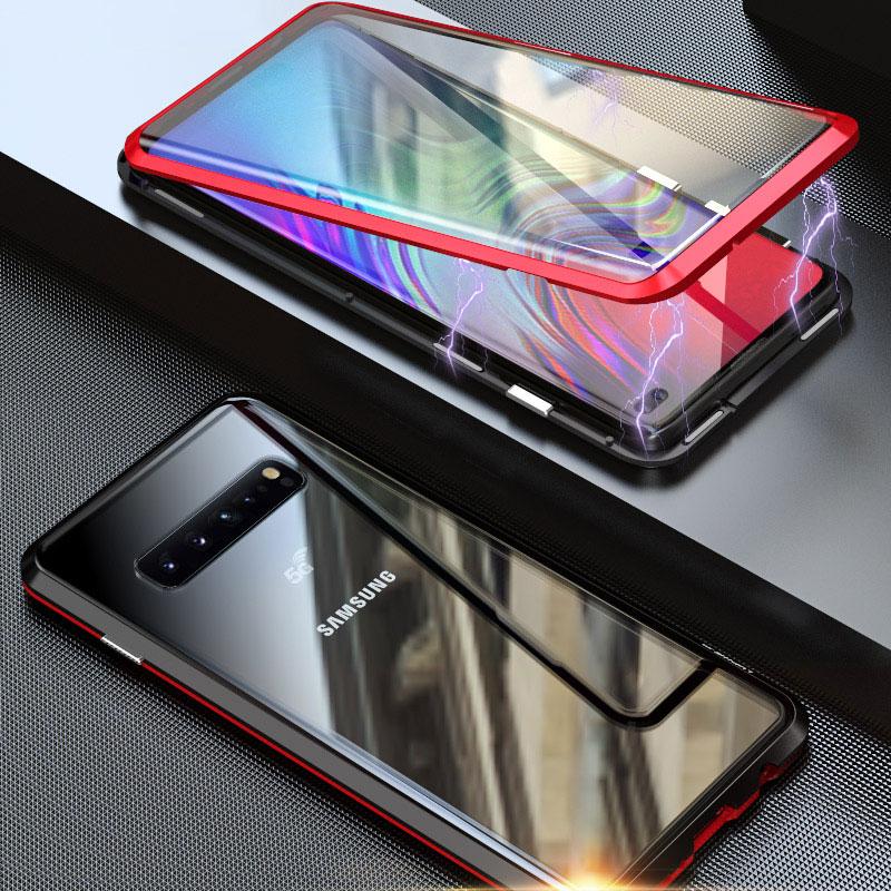 360 proteção de vidro transparente caixa de metal magnético para samsung galaxy a70 a50 a40 a30 a10 a80 m10 m20 m30 a7 a9 a8 mais 2018 capa