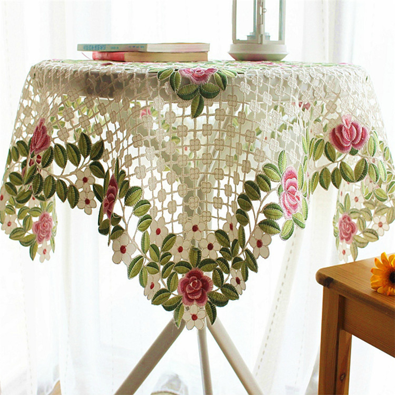 Hot Sale Elegant Polyester Satin Jacquard Embroidery Floral Tablecloths  Handmade Embroidered Table Cloth Cover Overlays In Tablecloths From Home U0026  Garden On ...