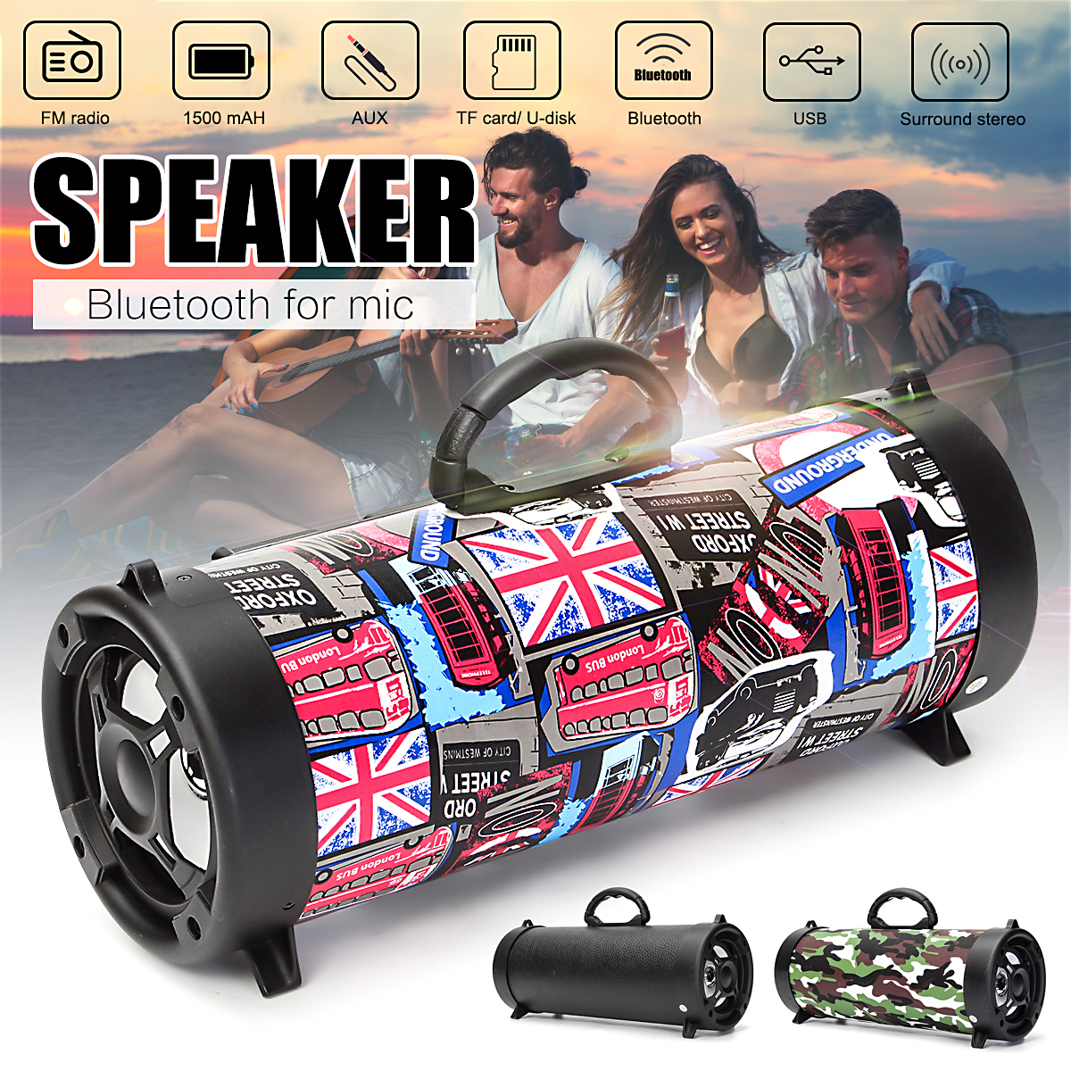 5W Wireless Bluetooth Speaker Outdoor HIFI Subwoofer Speaker USB AUX TF FM Radio Stereo Loudspeaker Bass MP3 Player Mobile Phone 25w wireless bluetooth speaker stereo bass portable loudspeaker sound system aux usb tf card fm radio outdoor speaker subwoofer