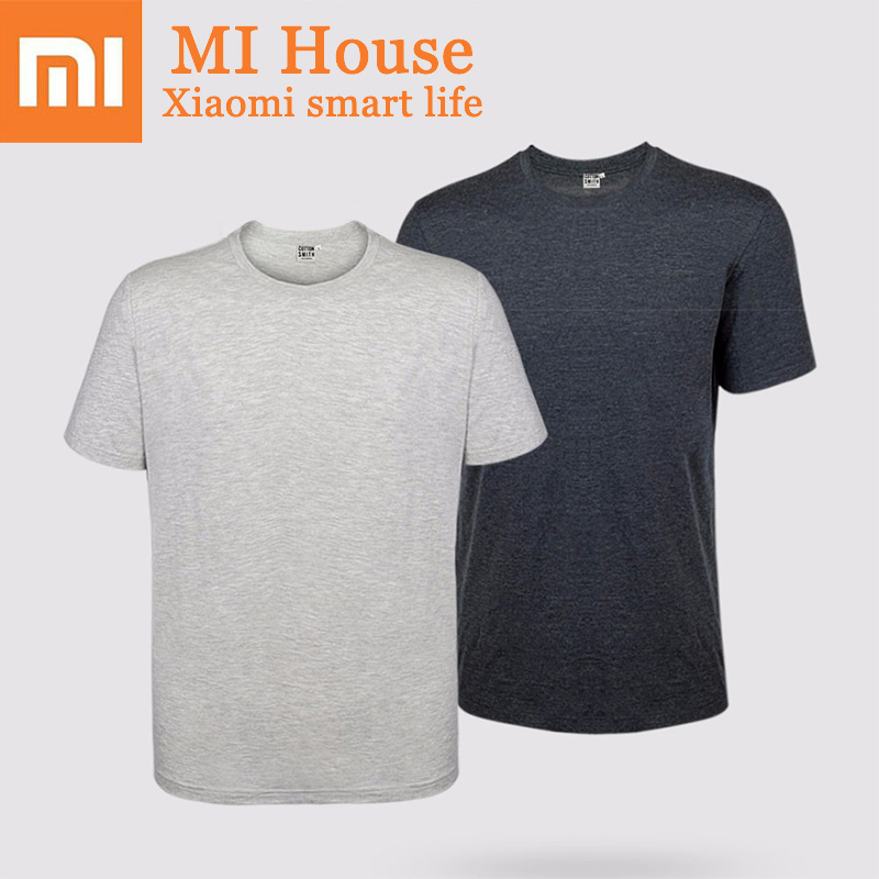 2 Pcs Xiaomi Short Sleeve Tee Solid Color Clothing 60% Cotton Comfortable Malet-Shirt Casual T Shirt For Men trendy slimming round neck short sleeves button design solid color t shirt for men