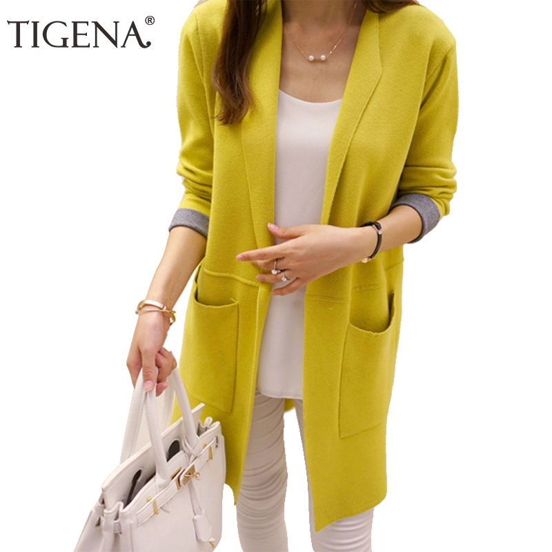 TIGENA Long Cardigan Female 2019 Autumn Winter Women Long Sleeve Cardigan Sweater Knitted Cardigans For Women Jacket Tops