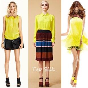 € 16.66 40% de DESCUENTO Venta al por mayor libro neon amarillo puro seda crepé de chine tela de seda de tarjeta de color suave para vestido in Tela