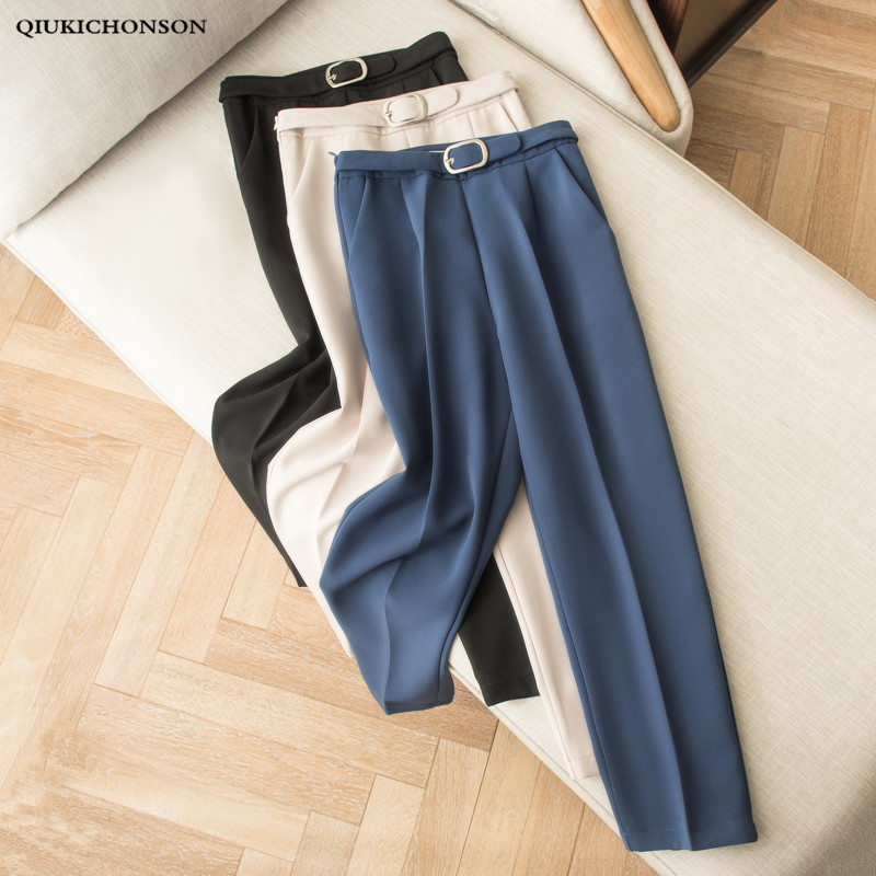 Korean Fashion Casual High Waisted Harem Pants Women Elegant Black Work Pants Office Ladies Trousers With Sash Belt Pantalones