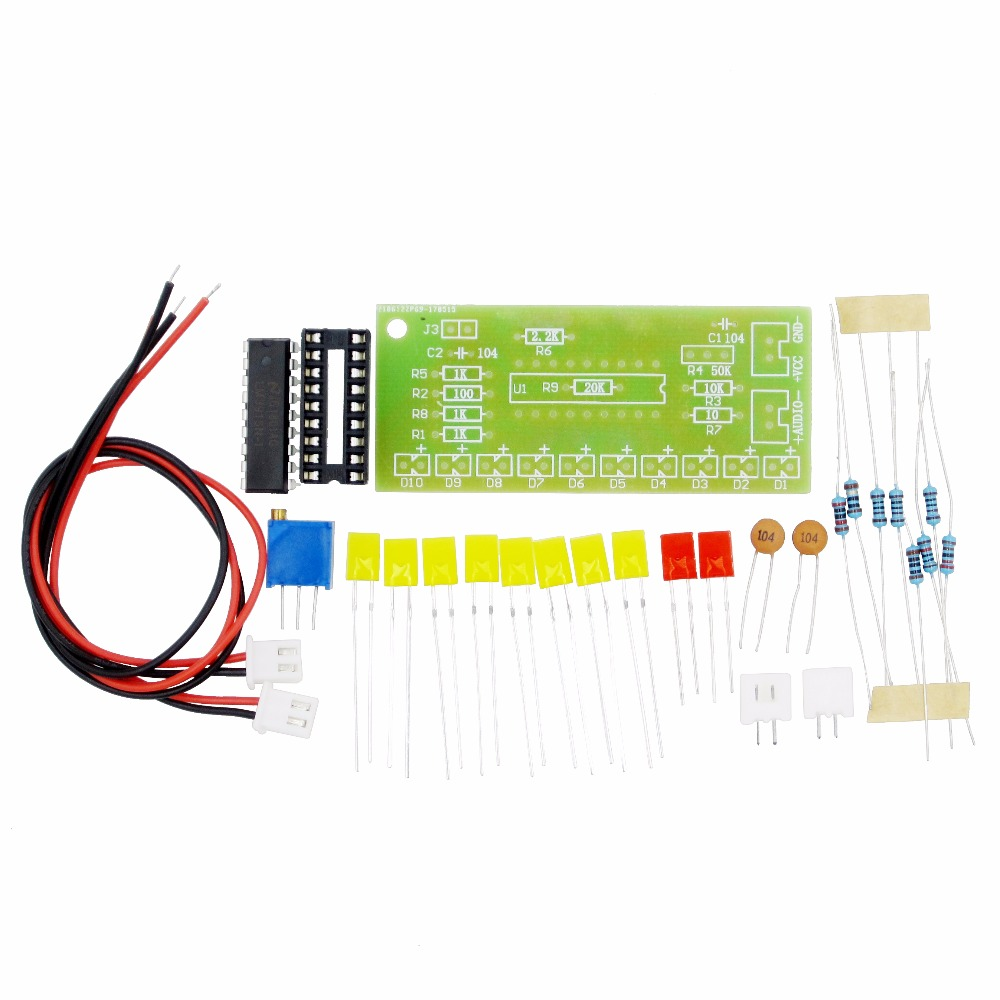 Funny 10 Led Audio Level Indicator Lm3915 Diy Kit Electronic Sound Bar Dot Vu Meter Circuit Based Strip Fire Suite Moduel Power