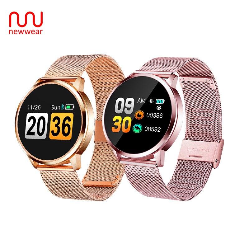 Newwear Q8 OLED Bluetooth Smart Watch Stainless Steel Waterproof Wearable Device Smartwatch Wristwatch Men Women Fitness Tracker