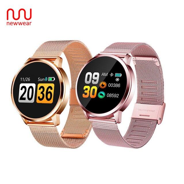 Newwear Q8 OLED Bluetooth Smart часы Нержавеющаясталь Водонепроницаемый носимого устройства Smartwatch наручные часы Для мужчин Для женщин Фитнес трекер