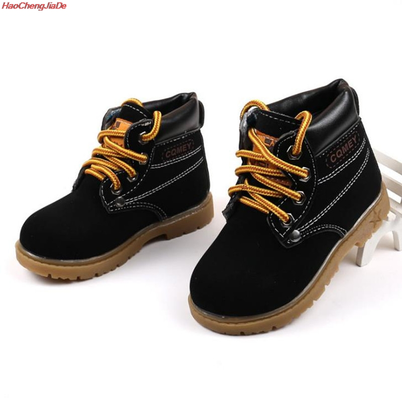 HaoChengJiaDe Autumn Winter Hot Sale Child Casual Cotton Boots Kids Non-slip Keep Warm Martin Snow Boots Boys Sneakers Baby Shoe