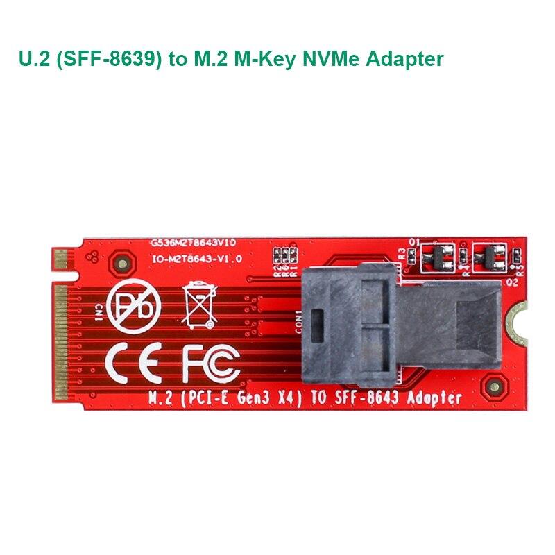 U.2 SFF-8639 To M.2 M Key NVMe Adapter Card Mini SAS To M.2 M-Key NVMe SFF-8639 Adapter With SFF-8639 Cable IO-M2TO8643